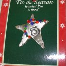CHRISTMAS JEWELED PIN BEADED METAL STAR HOLIDAY JEWELRY NEW GANZ