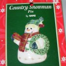 PORCELAIN SNOWMAN AND WREATH CHRISTMAS HOLIDAY JEWELRY NEW GANZ PIN