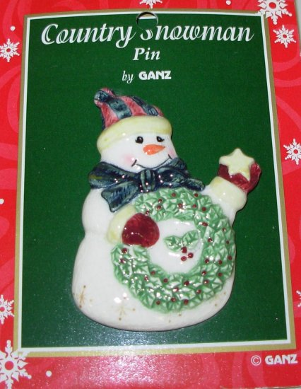 PORCELAIN SNOWMAN WREATH STAR CHRISTMAS HOLIDAY JEWELRY NEW GANZ PIN