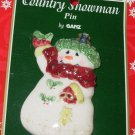 PORCELAIN SNOWMAN AND HOLLY CHRISTMAS HOLIDAY JEWELRY NEW GANZ PIN