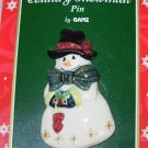 PORCELAIN SNOWMAN AND HEARTS CHRISTMAS HOLIDAY JEWELRY NEW GANZ PIN
