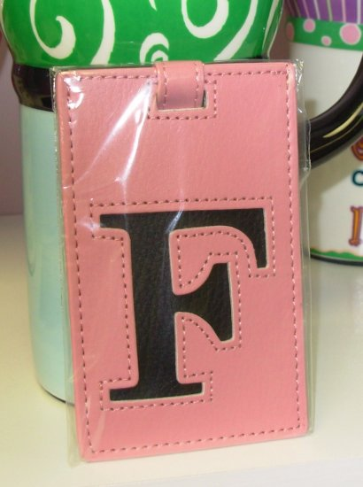INITIAL LUGGAGE TAGS NEW GANZ LETTER F IN PINK WITH BLACK LETTER VINYL