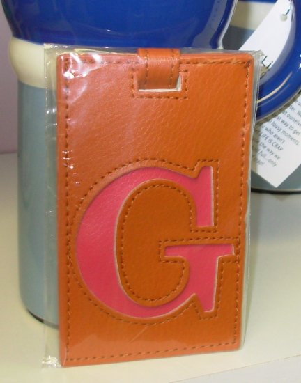 INITIAL LUGGAGE TAGS NEW GANZ LETTER G IN ORANGE WITH HOT PINK LETTER VINYL