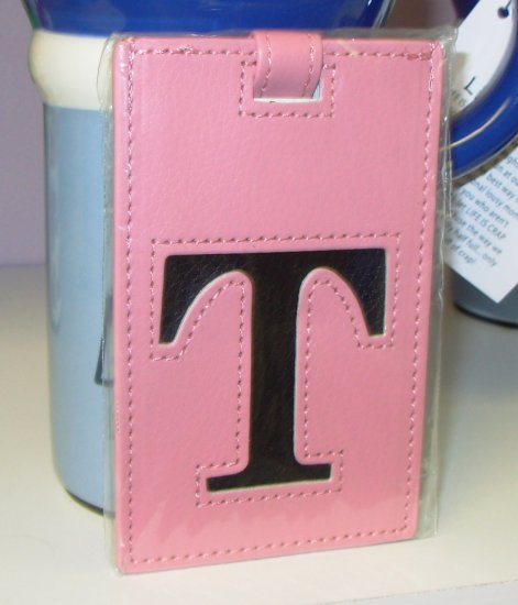 INITIAL LUGGAGE TAGS NEW GANZ LETTER T IN PINK WITH A BLACK  LETTER VINYL