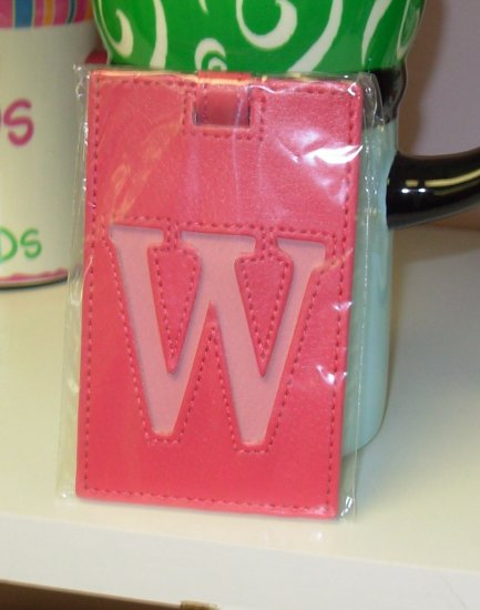 INITIAL LUGGAGE TAGS NEW GANZ LETTER W IN HOT PINK WITH A LIGHTER PINK LETTER VINYL