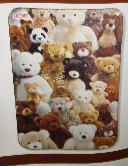 TEDDY BEAR FLEECE THROW NEW GUND BLANKET LOTS OF TEDDYBEARS COLLECTIBLE