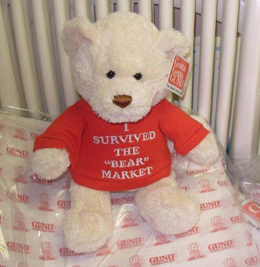 NEW TEDDYBEAR WITH TSHIRT SAYS I SURVIVED THE BEAR MARKET PLUSH STUFFED ANIMAL BEAR GUND