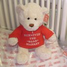 NEW TEDDYBEAR WITH TSHIRT SAYS I SURVIVED THE BEAR MARKET PLUSH STUFFED ANIMAL BEAR GUND