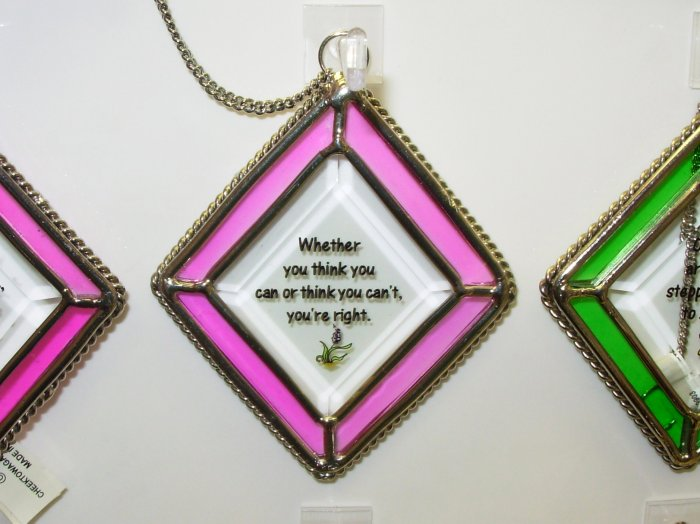 YOU THINK YOU CAN AFFIRMATION ORNAMENT SUNCATCHER NEW GANZ HOME DECOR GLASS METAL