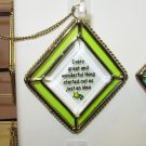 JUST AN IDEA AFFIRMATION ORNAMENT SUNCATCHER NEW GANZ HOME DECOR GLASS METAL