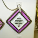 ATTITUDE AFFIRMATION ORNAMENT SUNCATCHER NEW GANZ HOME DECOR GLASS METAL