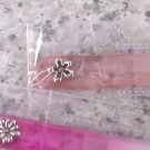GLASS NAIL FILE NEW GANZ PEACH WITH SILVER COLORED FLOWER AND PINK CRYSTAL IN CASE
