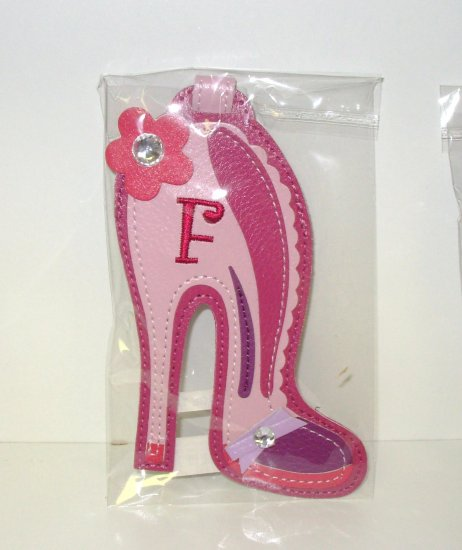 INITIAL  F LUGGAGE TAG STAND OUT HIGH HEEL NEW GANZ IN RED PINK FUSHIA AND PURPLE