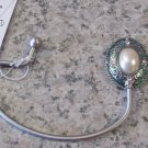 HANDBAG HOOK HOLDER IN LIGHT GREEN SILVER COLOR WITH FAUX PEARL A SECURE WAY TO HANG YOUR PURSE GANZ