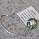 HANDBAG HOOK HOLDER DARK GREEN SILVER FAUX PEARL SECURE WAY TO HANG YOUR PURSE GANZ MOTHERS DAY GIFT
