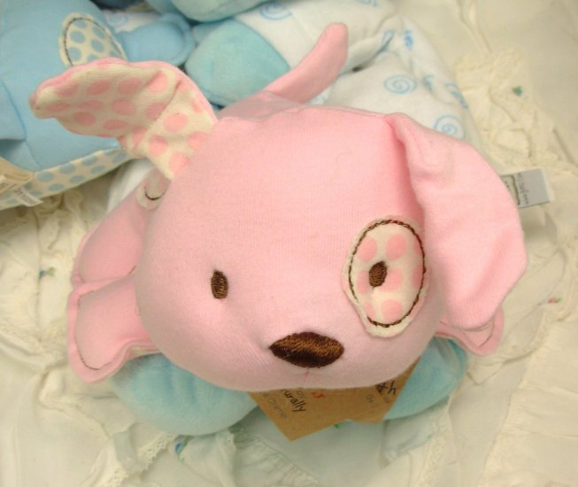 PUPPY BABY CHIME TOY LOVE OUR EARTH ORGANIC COTTON ECO FRIENDLY BABY GUND PINK