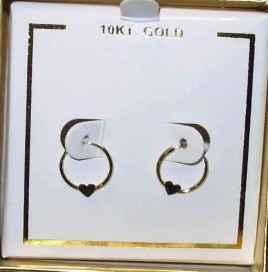 10K YELLOW GOLD HEART EARRINGS FOR PIERCED EARS EARRINGS NEW