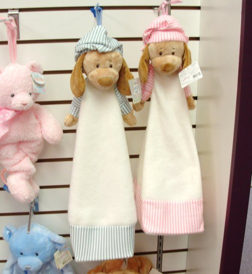 DIAPER STACKER BABY GANZ BLUE AND WHITE PUPPY IN PJS HOLDS 20 DIAPERS NEW WITH TAGS
