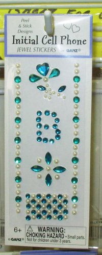 INITIAL  JEWEL STICKERS BY GANZ PEEL AND STICK NEW LETTER B BLUE GREEN AND WHITE PEARL  CRYSTALS