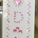 INITIAL JEWEL STICKERS BY GANZ PEEL AND STICK NEW LETTER D PINK AND WHITE PEARL CRYSTALS