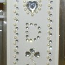 INITIAL JEWEL STICKERS BY GANZ PEEL AND STICK NEW LETTER D CLEAR AND WHITE PEARL CRYSTALS