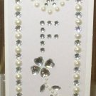 INITIAL JEWEL STICKERS BY GANZ PEEL AND STICK NEW LETTER F WHITE PEARL AND CLEAR CRYSTALS