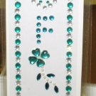 INITIAL JEWEL STICKERS BY GANZ PEEL AND STICK NEW LETTER F TURQUOISE AND CLEAR CRYSTALS