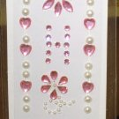 INITIAL JEWEL STICKERS BY GANZ PEEL AND STICK NEW LETTER H WHITE PEARL AND PINK CRYSTALS
