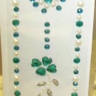INITIAL JEWEL STICKERS BY GANZ PEEL AND STICK NEW LETTER I WHITE PEARL TURQUOISE AND CLEAR CRYSTALS