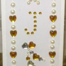 INITIAL JEWEL STICKERS BY GANZ PEEL AND STICK NEW LETTER J WHITE PEARL GOLD AND CLEAR CRYSTALS