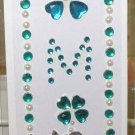 INITIAL JEWEL STICKERS BY GANZ PEEL AND STICK NEW LETTER M WHITE PEARL TURQUOISE AND CLEAR CRYSTALS