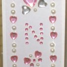 INITIAL JEWEL STICKERS PEEL AND STICK NEW LETTER N PINK CLEAR AND WHITE PEARL CRYSTALS