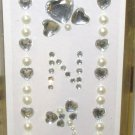INITIAL JEWEL STICKERS PEEL AND STICK NEW LETTER N CLEAR AND WHITE PEARL CRYSTALS