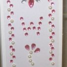 INITIAL JEWEL STICKERS BY GANZ PEEL AND STICK NEW LETTER W WHITE PINK AND CLEAR CRYSTALS