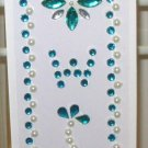 INITIAL JEWEL STICKERS BY GANZ PEEL AND STICK NEW LETTER W WHITE TURQUOISE AND CLEAR CRYSTALS