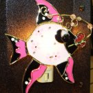 FISH NIGHT NITE LIGHT STAINED GLASS & CRYSTAL NEW GANZ PINK AND BLACK