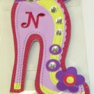INITIAL N LUGGAGE TAG STAND OUT HIGH HEEL NEW GANZ IN LAVENDER RED YELLOW AND PURPLE