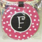 LUGGAGE TAG INITIAL F PINK WITH WHITE POLKA DOTS PINK CENTER NEW GANZ