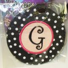 LUGGAGE TAG INITIAL G BLACK WITH WHITE POLKA DOTS PINK CENTER NEW GANZ