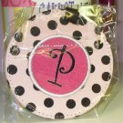 LUGGAGE TAG INITIAL P PINK WITH BLACK POLKA DOTS PINK CENTER NEW GANZ