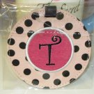 LUGGAGE TAG INITIAL T PINK WITH BLACK POLKA DOTS PINK CENTER NEW GANZ