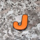 INITIAL MAGNET LETTER J  ORANGE  AND BLACK SOFT RUBBER NEW
