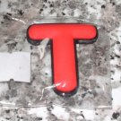INITIAL MAGNET LETTER T RED AND BLACK SOFT RUBBER NEW