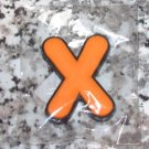 INITIAL MAGNET LETTER X ORANGE  AND BLACK SOFT RUBBER NEW