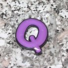 INITIAL MAGNET LETTER Q PURPLE AND BLACK SOFT RUBBER NEW