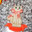 ARTISAN CRAFTED CLAY KITTY CAT CHRISTMAS ORNAMENT