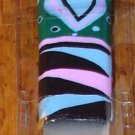 NAIL FILE CRYSTAL IN BLACK BLUE PINK AND GREEN STRIPES WITH A HEART BACKGROUND IN CASE NEW GANZ