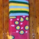 NAIL FILE CRYSTAL FUSHIA WITH BLUE YELLOW GREEN STRIPES YELLOW DOTS ANDM MORE IN CASE NEW GANZ