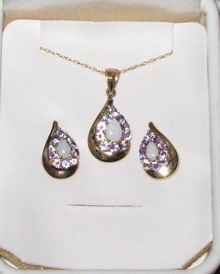 TANZANITE AND OPAL PENDANT AND EARRING SET 10K YELLOW GOLD PEAR OR TEARDROP SHAPE