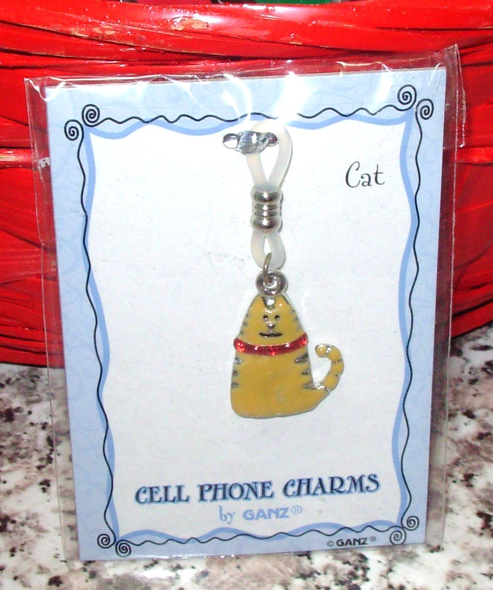 CHARM KITTY CAT ORANGE TABBY CELL PHONE PURSE CHARM NEW GANZ